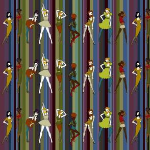 Bearded Ladies on retro stripe - autumn palette