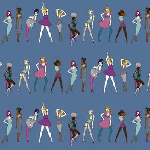 Bearded Ladies on blue - winter palette