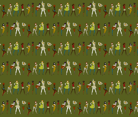 Bearded Ladies on moss - autumn palette fabric by coppercatkin on Spoonflower - custom fabric