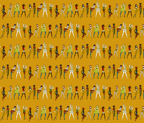 Bearded Ladies on honey - autumn palette fabric by coppercatkin on Spoonflower - custom fabric