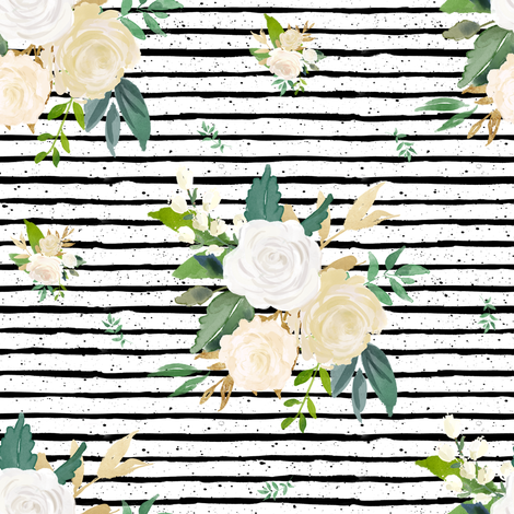 "8"" Brooklyn Rose Black Stripes fabric by shopcabin on Spoonflower - custom fabric"
