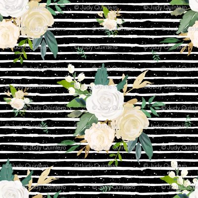 """4"""" Brooklyn Rose /  Black with White Stripes"""