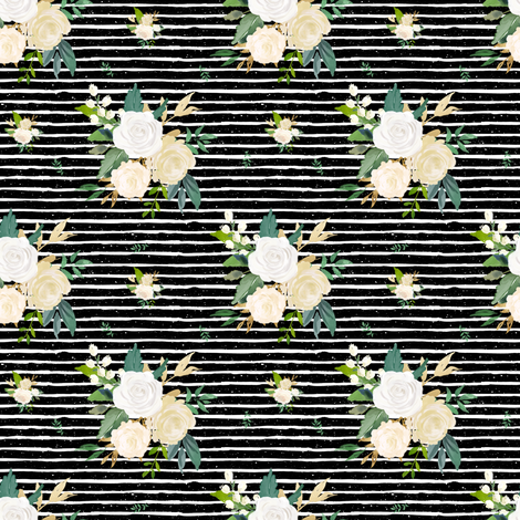 """4"""" Brooklyn Rose /  Black with White Stripes fabric by shopcabin on Spoonflower - custom fabric"""