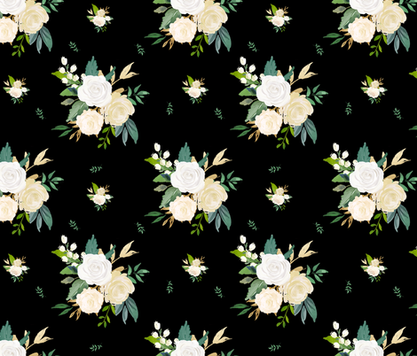 "18"" Brooklyn Rose / Black fabric by shopcabin on Spoonflower - custom fabric"