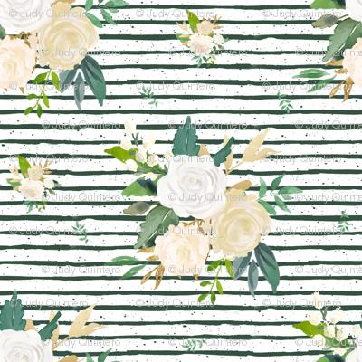 """8"""" Brooklyn Rose Leaves / Green Stripes"""