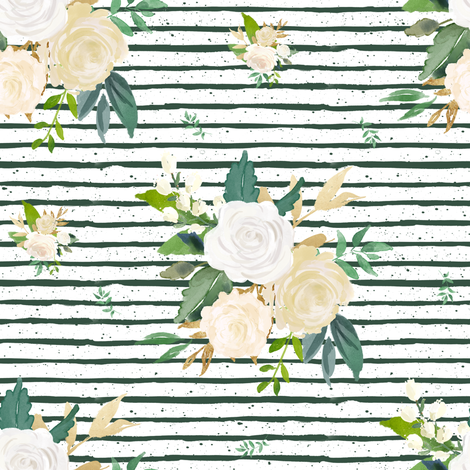 "8"" Brooklyn Rose Leaves / Green Stripes fabric by shopcabin on Spoonflower - custom fabric"