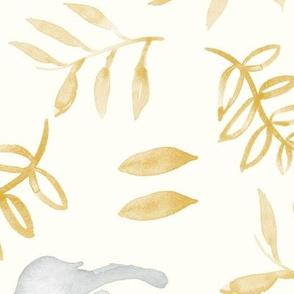 (jumbo scale) watercolor deer - silver & gold