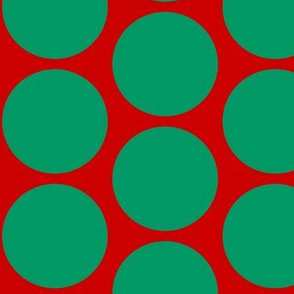 ChristmasHowdy: Polka Dot Green On Red