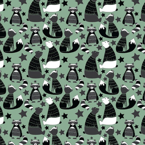 Black and white Racoons, foxes and bears on green