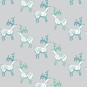 Scandinavian style deer on grey