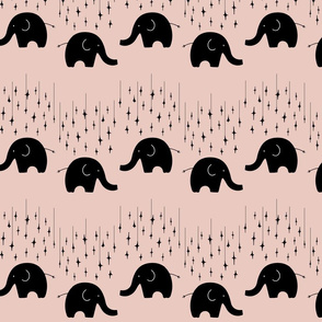Black elephants and stars on pink