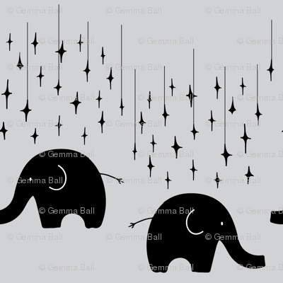 Elephants and stars on grey