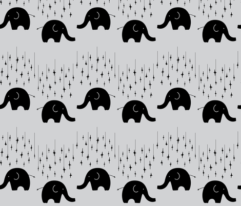 Elephants and stars on grey fabric by gemmacosgroveball on Spoonflower - custom fabric