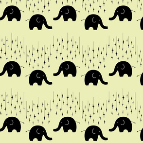 Elephants and stars on yellow