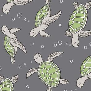 Sea Turtles Nautical Ocean Green on Dark Grey  Rotated
