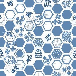 blue hexagon beehive