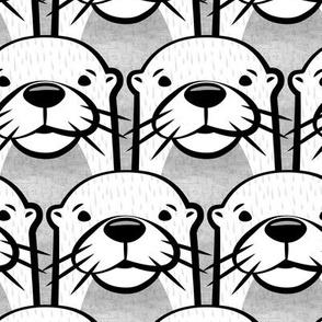 (jumbo scale) otters - monochrome