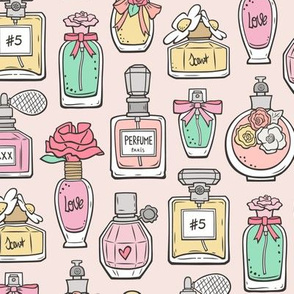 Perfume Bottles on Light Peach