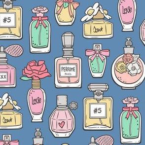 Perfume Bottles on Dark Blue Navy