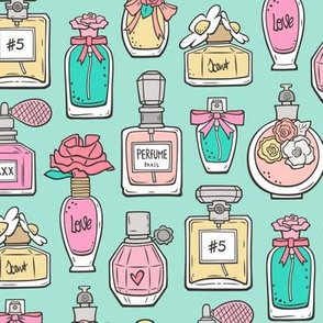Perfume Bottles on Mint Green