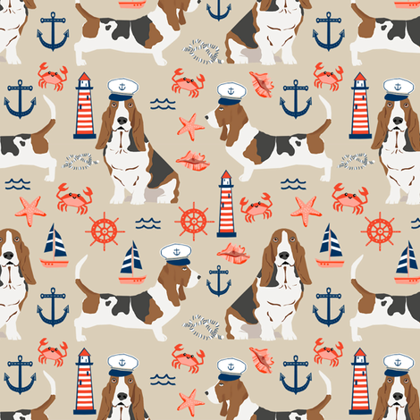 basset hound dog breed nautical themed fabric beige fabric by petfriendly on Spoonflower - custom fabric