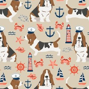 basset hound dog breed nautical themed fabric beige