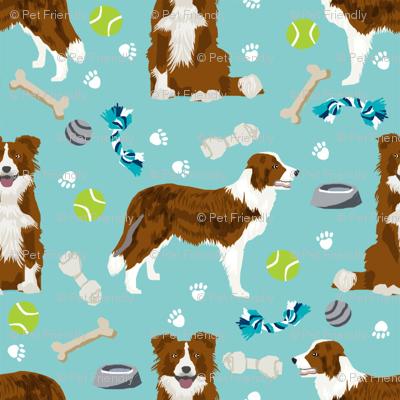 border collie red dog toys cute dog themed fabric aqua