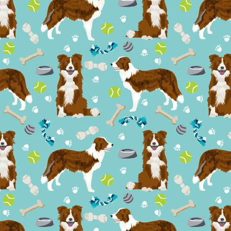 border collie red dog toys cute dog themed fabric aqua fabric by petfriendly on Spoonflower - custom fabric