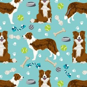 border collie red dog toys cute dog themed fabric aqua