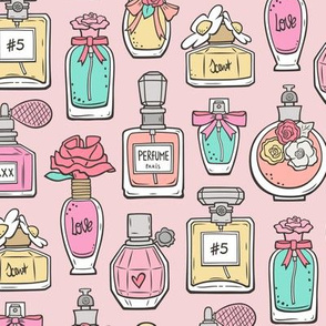 Perfume Bottles on Light Pink