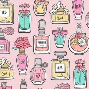 Perfume Bottles on Light Pink