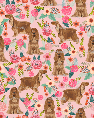 cocker spaniel florals (smaller) dog fabric floral flowers dog pattern - pink