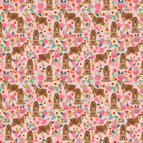 cocker spaniel florals (smaller) dog fabric floral flowers dog pattern - pink fabric by petfriendly on Spoonflower - custom fabric