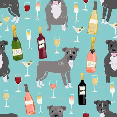 pitbull grey coat wine champagne cocktails dog breed fabric light blue