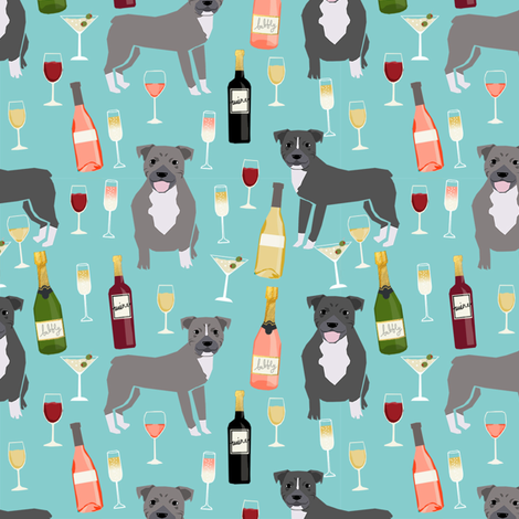 pitbull grey coat wine champagne cocktails dog breed fabric light blue fabric by petfriendly on Spoonflower - custom fabric