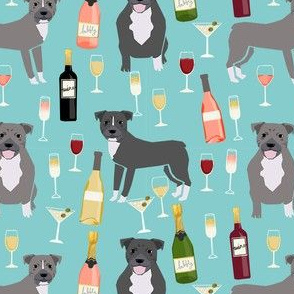 pitbull grey coat wine champagne cocktails dog breed fabric light blue