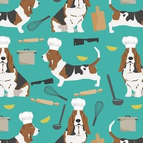 basset hounds chefs themed cooking dog breed fabric turquoise