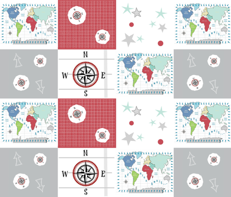 world map red -42 SMALL 1581 wholecloth quilt fabric - drapestudio ...