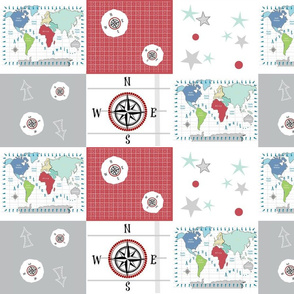 world map red -42 SMALL 1581  wholecloth quilt