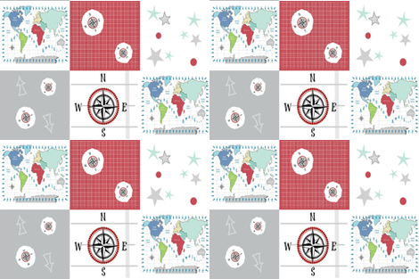 world map red -54 LG27 wholecloth quilt fabric - drapestudio ...