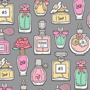 Perfume Bottles on Grey