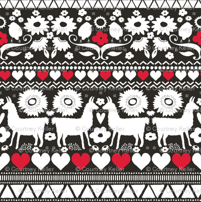 Folk Llama Black White & Red