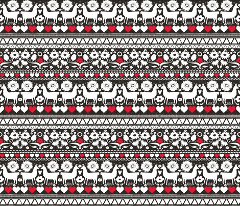 Folk Llama Black White & Red fabric by onelittleprintshop on Spoonflower - custom fabric