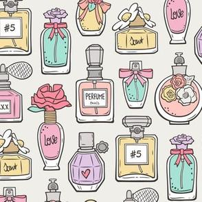 Perfume Bottles on Cloud Grey