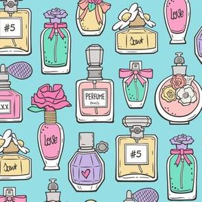 Perfume Bottles on Blue