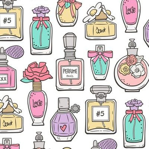 Perfume Bottles Pink Purple on White