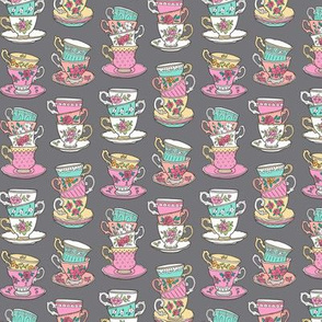 Stacked Tea cups with Vintage Roses Flowers on Dark Grey Smaller