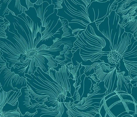 A field of beauty and death (thicker lines) fabric by cynthiahoekstra on Spoonflower - custom fabric