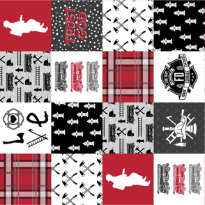 Firefighter Faux Quilt (Vertical)