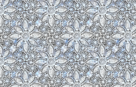Rustic white Dahlia lace on grey fabric by helenpdesigns on Spoonflower - custom fabric